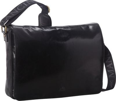 Mancini Leather Goods Laptop and Tablet Messenger Bag Black - Mancini Leather Goods Messenger Bags