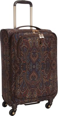 London Fog Soho 21 inch Expandable Spinner Carry-On Brown Paisley - London Fog Softside Carry-On