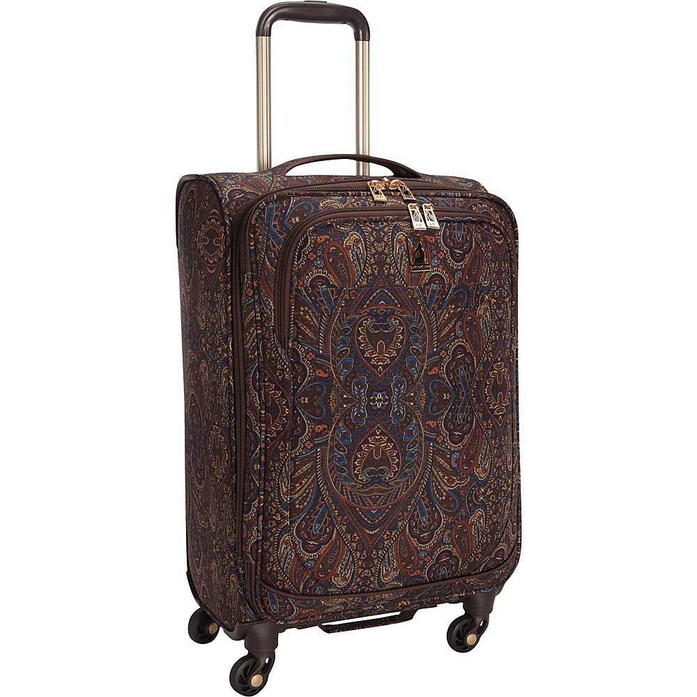 "London Fog Soho 21"" Expandable Spinner Carry-On Brown Paisley - London Fog Softside Carry-On"