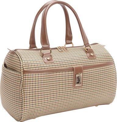 London Fog Cambridge 16 inch Classic Satchel Olive Plaid Houndstooth - London Fog Luggage Totes and Satchels