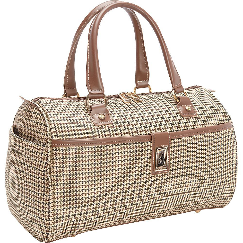 "London Fog Cambridge 16"" Classic Satchel Olive Plaid Houndstooth - London Fog Luggage Totes and Satchels"