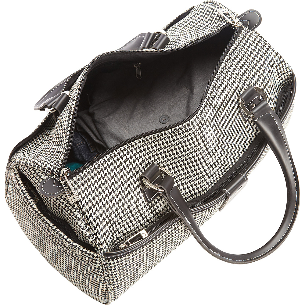 "London Fog Cambridge 16"" Classic Satchel Black White Houndstooth - London Fog Luggage Totes and Satchels"
