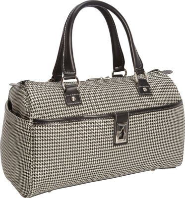 London Fog Cambridge 16 inch Classic Satchel Black White Houndstooth - London Fog Luggage Totes and Satchels