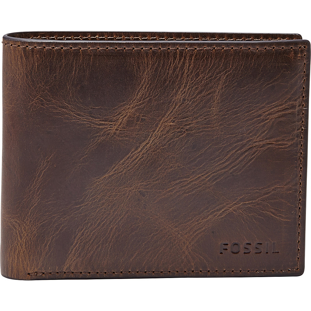 Fossil Derrick Flip ID Bifold Dark Brown - Fossil Mens Wallets - Work Bags & Briefcases, Men's Wallets