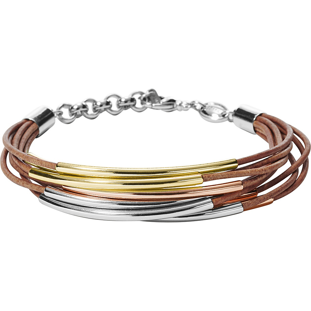 Fossil Mini Leather Corded Bracelet Tri-Tone (Rose, Gold, Silver) - Fossil Jewelry - Fashion Accessories, Jewelry