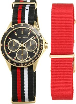 Vince Camuto Watches Multi-Function Nylon Strap Watch Gold/Black/Black & Red - Vince Camuto Watches Watches
