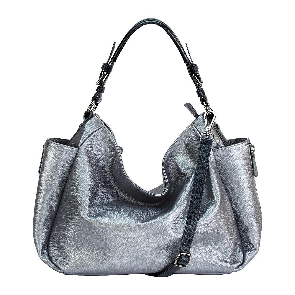 MOFE Rhapsodic Hobo Pewter Black Gunmetal MOFE Leather Handbags
