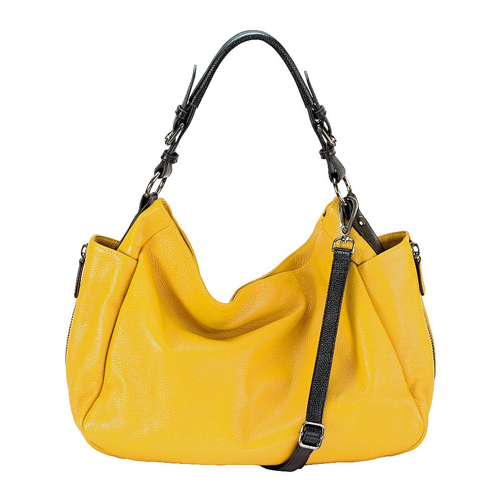 MOFE Rhapsodic Hobo Yellow Black Gunmetal MOFE Leather Handbags