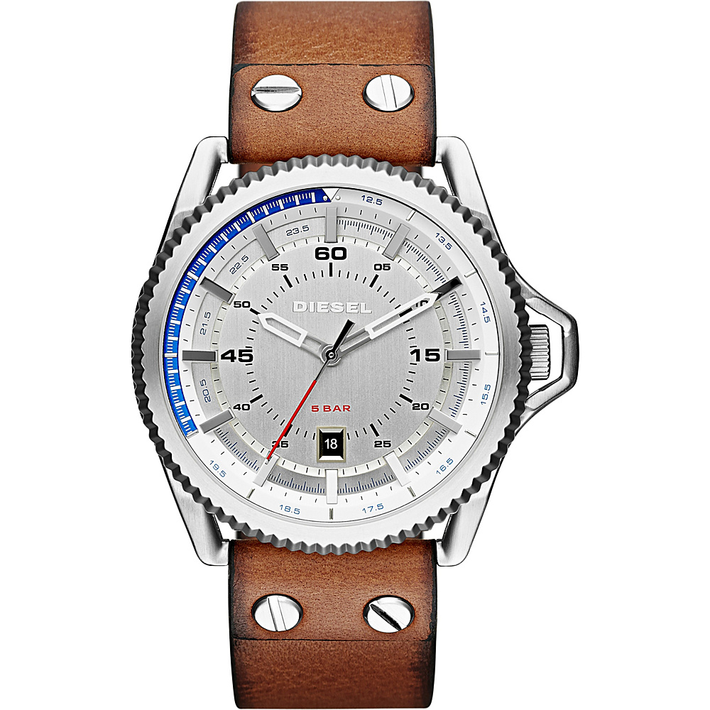 Diesel Watches Rollcage Three Hand Leather Watch Saddle Silver Diesel Watches Watches