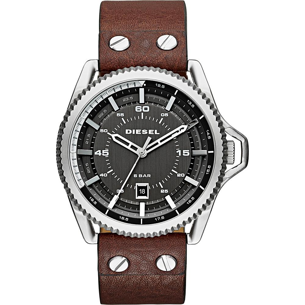 Diesel Watches Rollcage Three Hand Leather Watch Brown/Black - Diesel Watches Watches