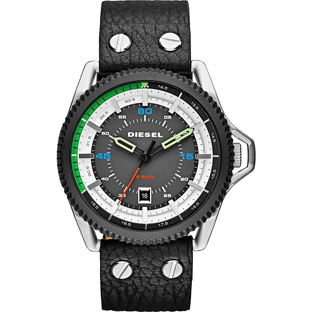 Diesel Watches Rollcage Three Hand Leather Watch Black/ Multi Color Accents - Diesel Watches Watches