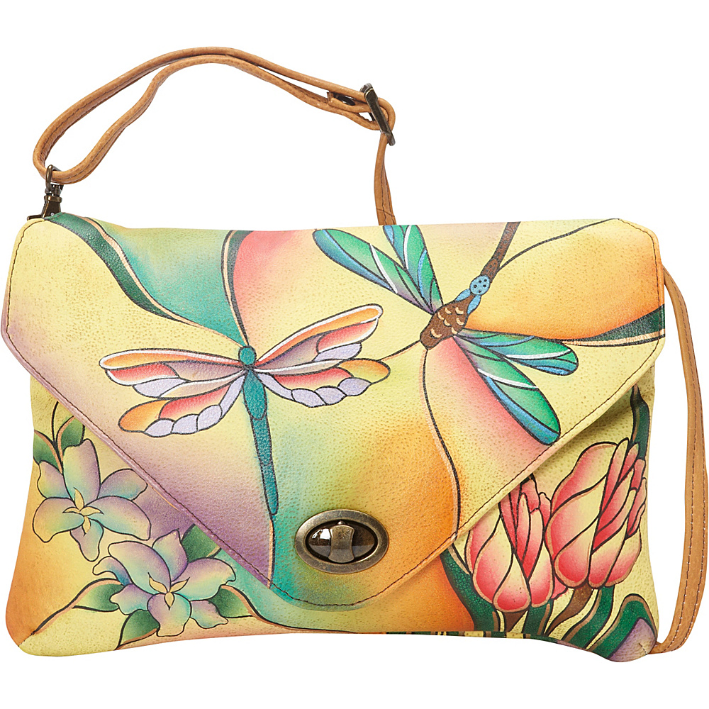 ANNA by Anuschka Envelop Clutch Dragonfly Glass Painting ANNA by Anuschka Leather Handbags