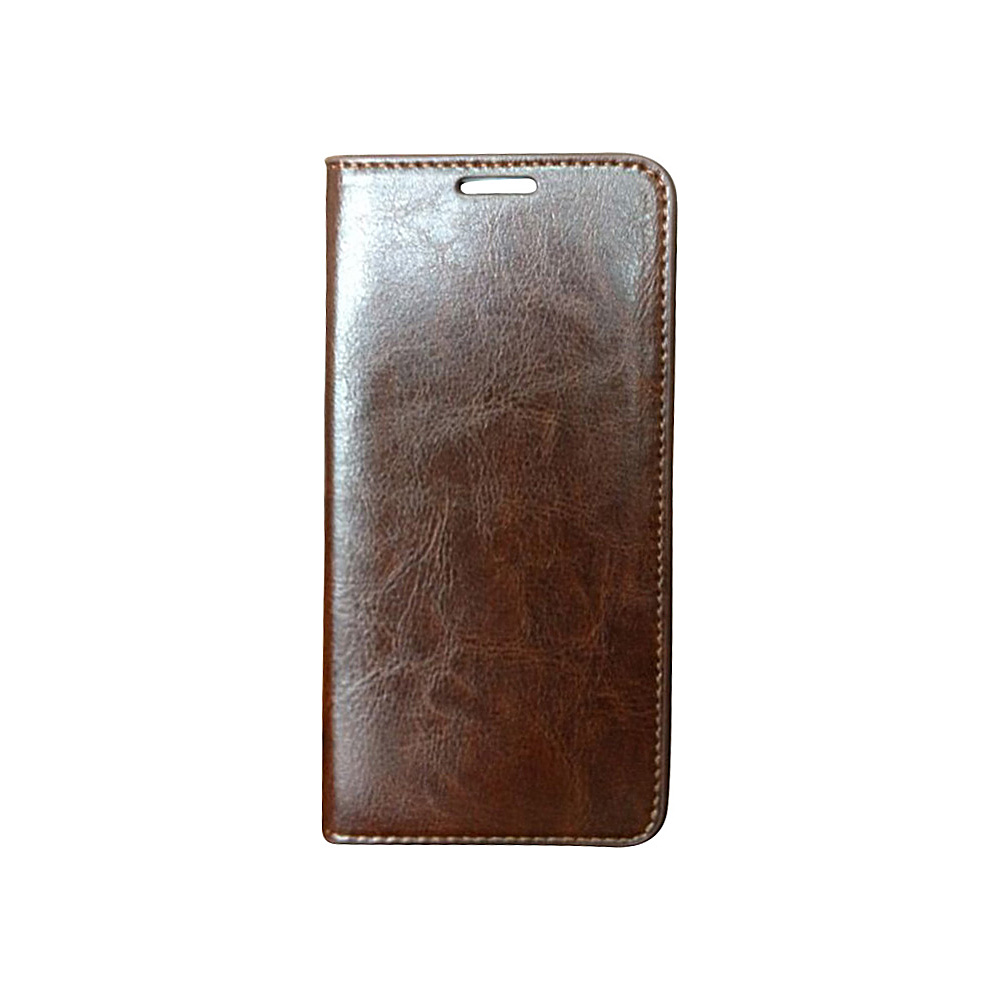 Vicenzo Leather Hudson Samsung Galaxy S6 Leather Folio Wallet Case Brown Vicenzo Leather Electronic Cases