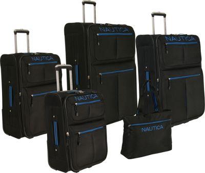 Nautica Maritime 2 Five Piece Luggage Set BLACK/ PRINCE BLUE - Nautica Luggage Sets