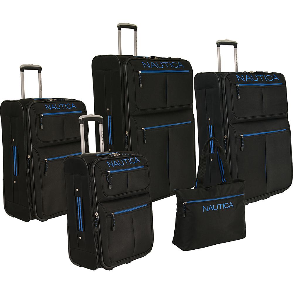 Nautica Maritime 2 Five Piece Luggage Set BLACK PRINCE BLUE Nautica Luggage Sets