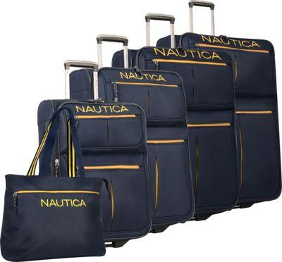 Nautica Maritime 2 Five Piece Luggage Set Navy/Yellow - Nautica Luggage Sets