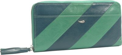 TUSK LTD Barcelona Single Zip Gusseted Clutch Wallet Jade/Navy - TUSK LTD Ladies Small Wallets