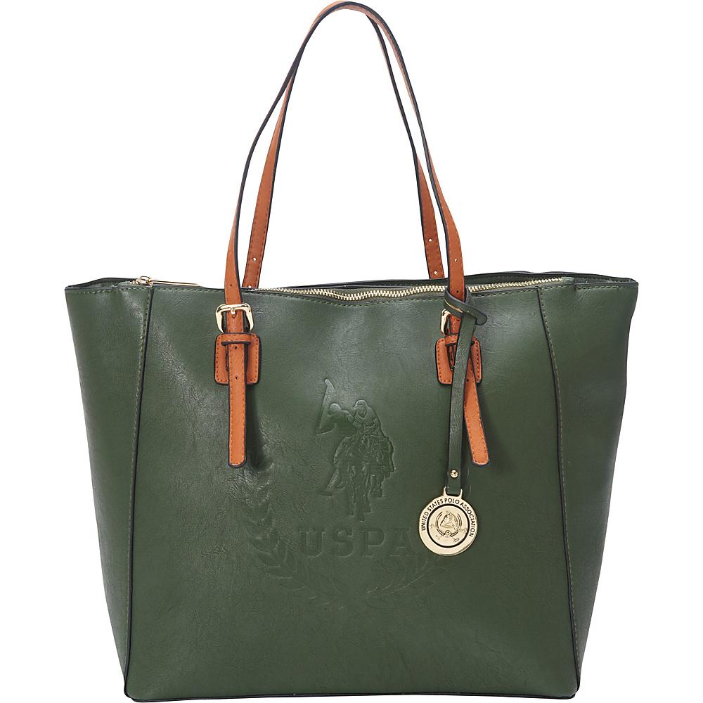 84ebd1281415 U.S. Polo Association Logo Signature Embossed Tote Hunter Cognac - U.S.  Polo Association Manmade Handbags
