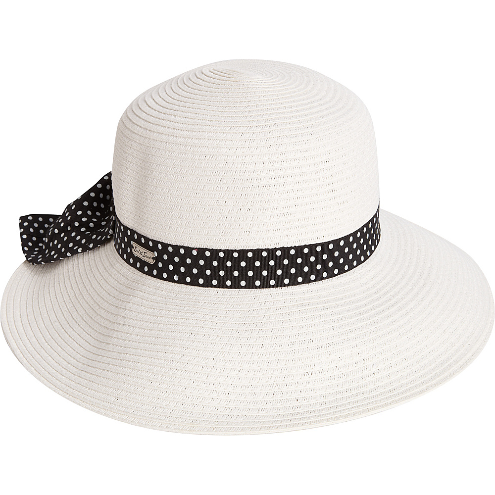 Sun N Sand Paper Braid Hat with Polka Dot Ribbon One Size - White - Sun N Sand Hats/Gloves/Scarves - Fashion Accessories, Hats/Gloves/Scarves
