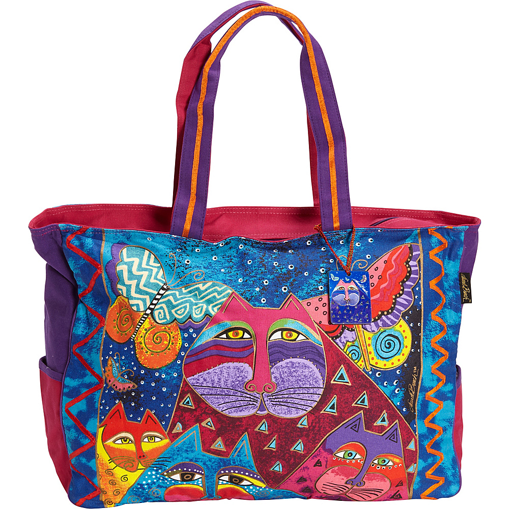 Laurel Burch Cats with Butterflies Oversized Tote Multi - Laurel Burch Gym Bags