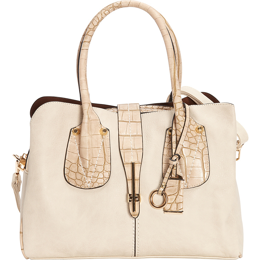 SW Global Abbie Satchel Bag Beige - SW Global Manmade Handbags - Handbags, Manmade Handbags