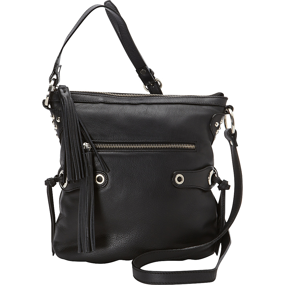 Scully Soft Lamb Fringe Crossbody Black Scully Leather Handbags