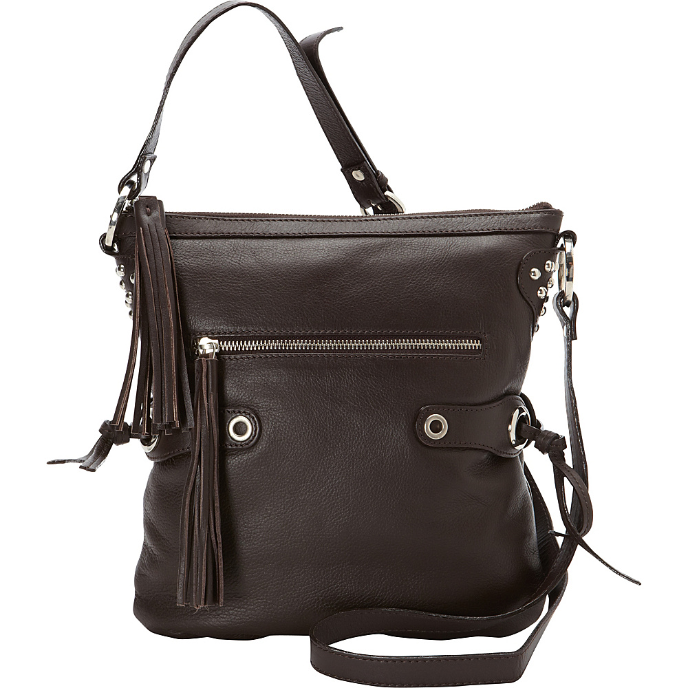 Scully Soft Lamb Fringe Crossbody Brown Scully Leather Handbags