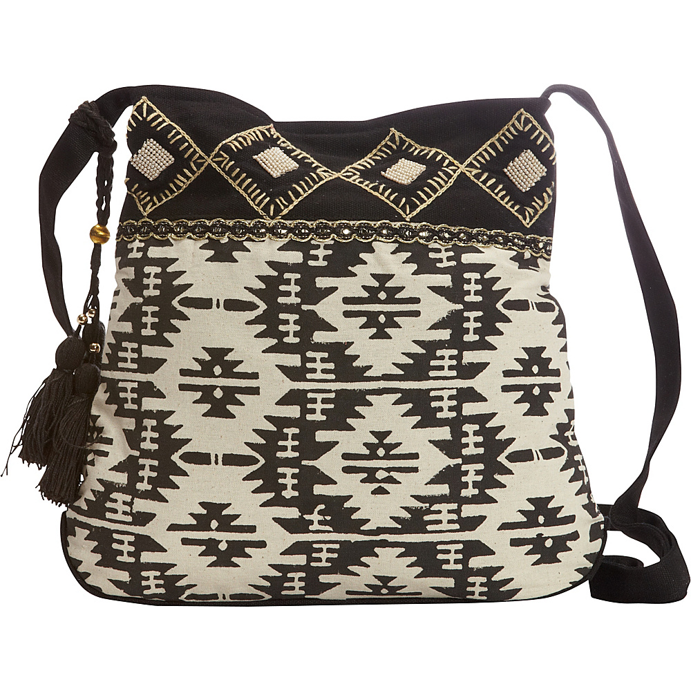 Scully Shoulder Bag with Geometric Aztec Print Black Scully Fabric Handbags