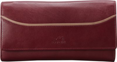 Mancini Leather Goods RFID Secure Gemma Large Trifold Clutch Wallet Burgundy - Mancini Leather Goods Women's Wallets