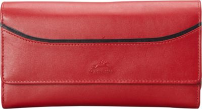 Mancini Leather Goods RFID Secure Gemma Large Trifold Clutch Wallet Red - Mancini Leather Goods Women's Wallets
