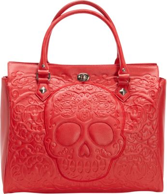 Loungefly Lattice Skull Tote Red - Loungefly Manmade Handbags