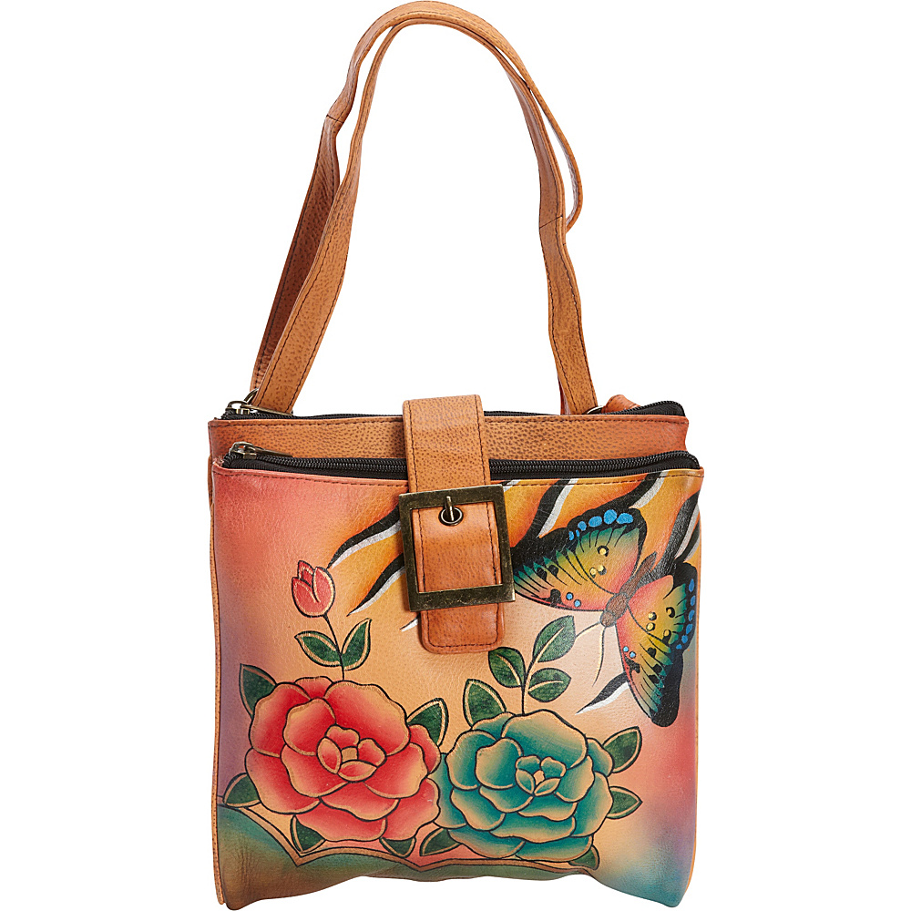 ANNA by Anuschka Hand Painted Triple Compartment Travel Organizer Antique Rose Safari ANNA by Anuschka Leather Handbags