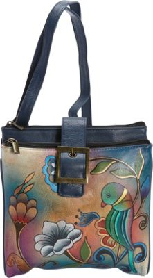 ANNA by Anuschka Hand Painted Triple Compartment Travel Organizer Portuguese Parrot - ANNA by Anuschka Leather Handbags