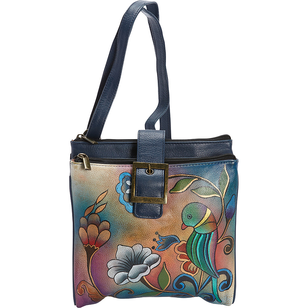 Anuschka Hand Painted Leather Zip Top Triple Compartment Crossbody Bag