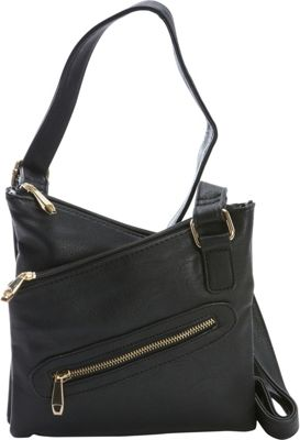 Diophy Diophy Multi-Zippered Messenger Crossbody Black - Diophy Manmade Handbags