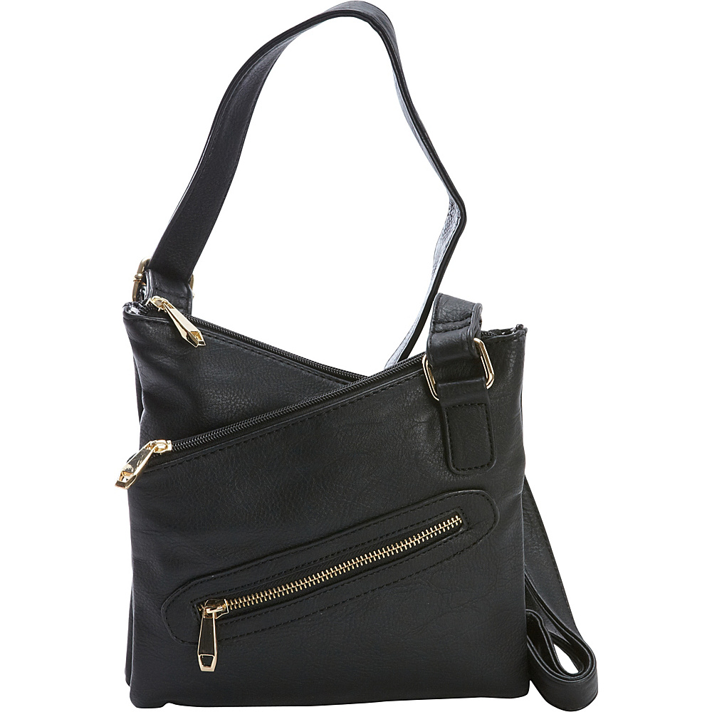 Diophy Multi Zippered Messenger Crossbody Black Diophy Manmade Handbags