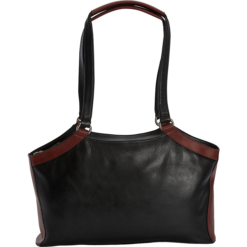 Derek Alexander E/W Triple Compartment Shoulder Bag Black/Brandy - Derek Alexander Leather Handbags - Handbags, Leather Handbags