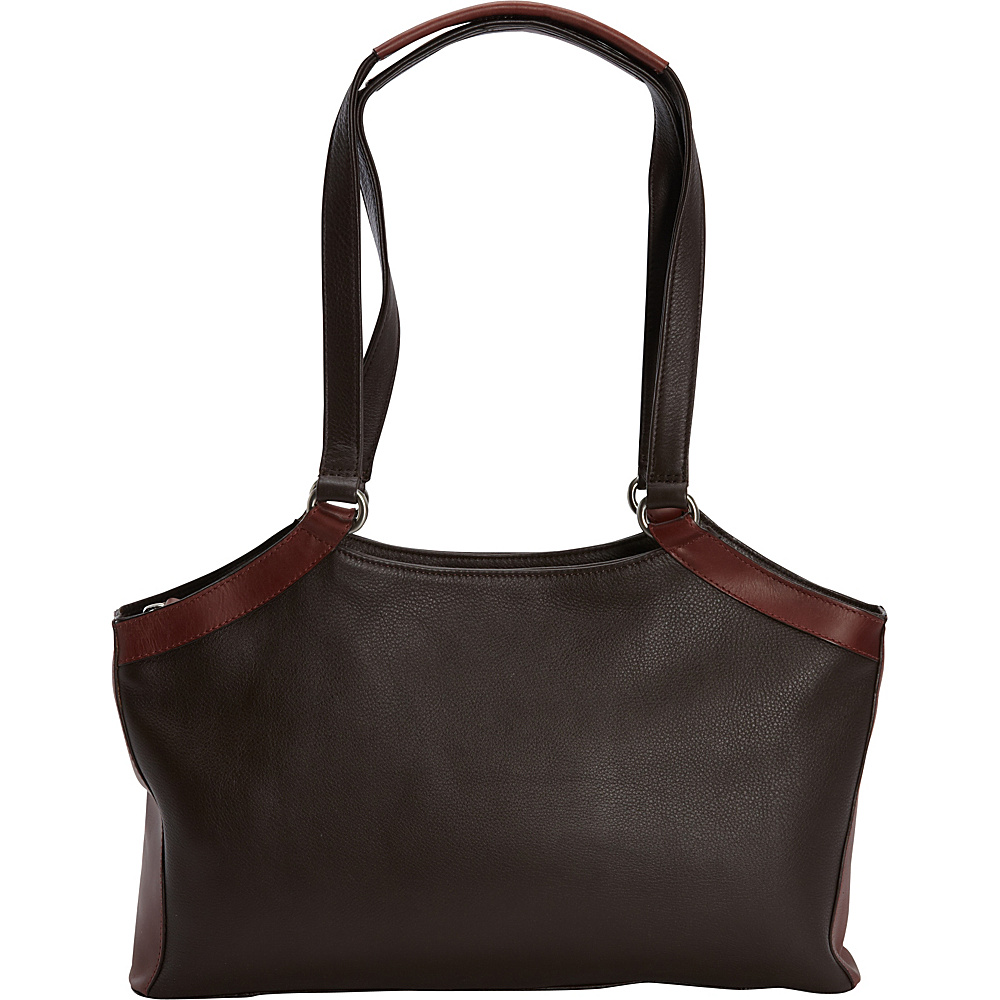 Derek Alexander E/W Triple Compartment Shoulder Bag Brown/Brandy - Derek Alexander Leather Handbags - Handbags, Leather Handbags