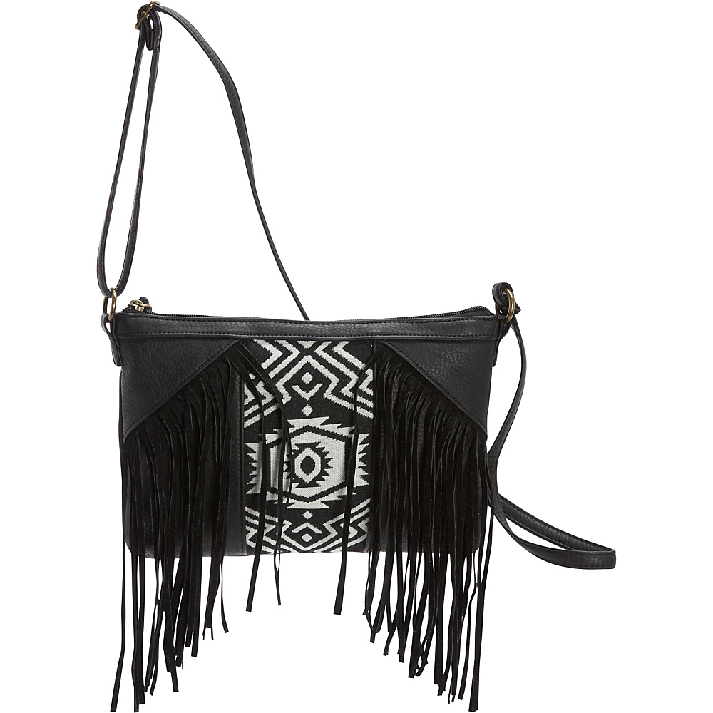 T shirt Jeans Fringe Cross Body with Woven Center Panel Black T shirt Jeans Manmade Handbags