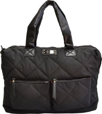 "Image of Adrienne Vittadini 14"" Medium Quilted Duffle Black - Adrienne Vittadini Luggage Totes and Satchels"