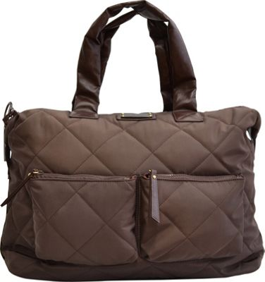 "Image of Adrienne Vittadini 14"" Medium Quilted Duffle Brown - Adrienne Vittadini Luggage Totes and Satchels"