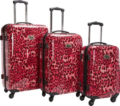 Chariot Luggage 3Pc Spinner Set Pink Leopard - Chariot Luggage Sets