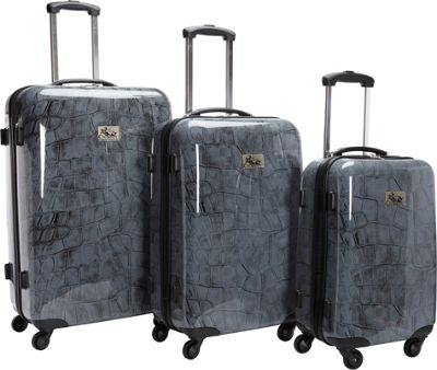 Chariot Luggage 3Pc Spinner Set Crocodile - Chariot Luggage Sets