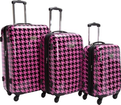 Chariot Luggage 3Pc Spinner Set Fuchsia/Black - Chariot Luggage Sets