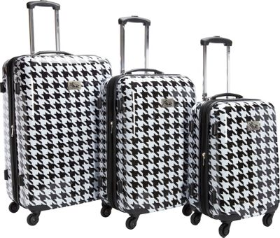 Chariot Luggage 3Pc Spinner Set White/Black - Chariot Luggage Sets