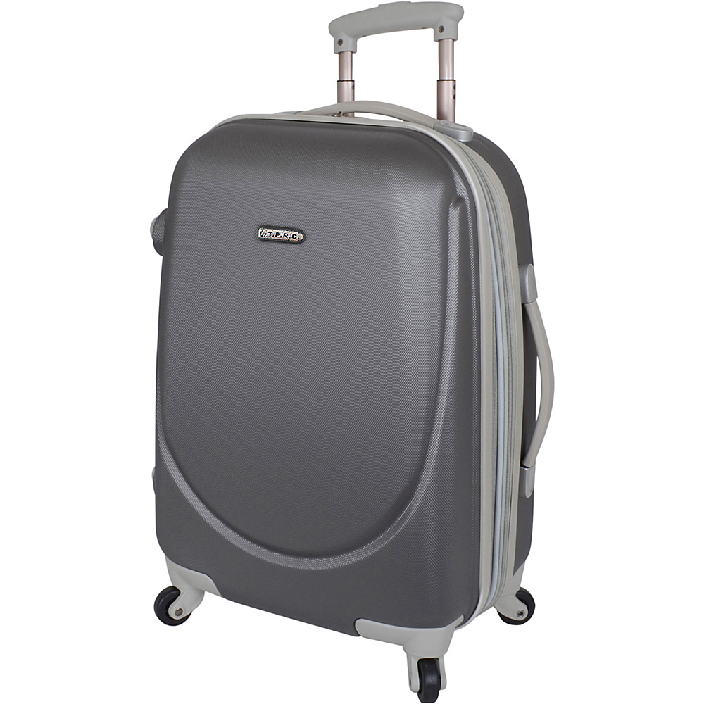 """Travelers Club Luggage Barnet 20"""" Round Shell Expandable Spinner Carry-On Silver - Travelers Club Luggage Hardside Luggage"""