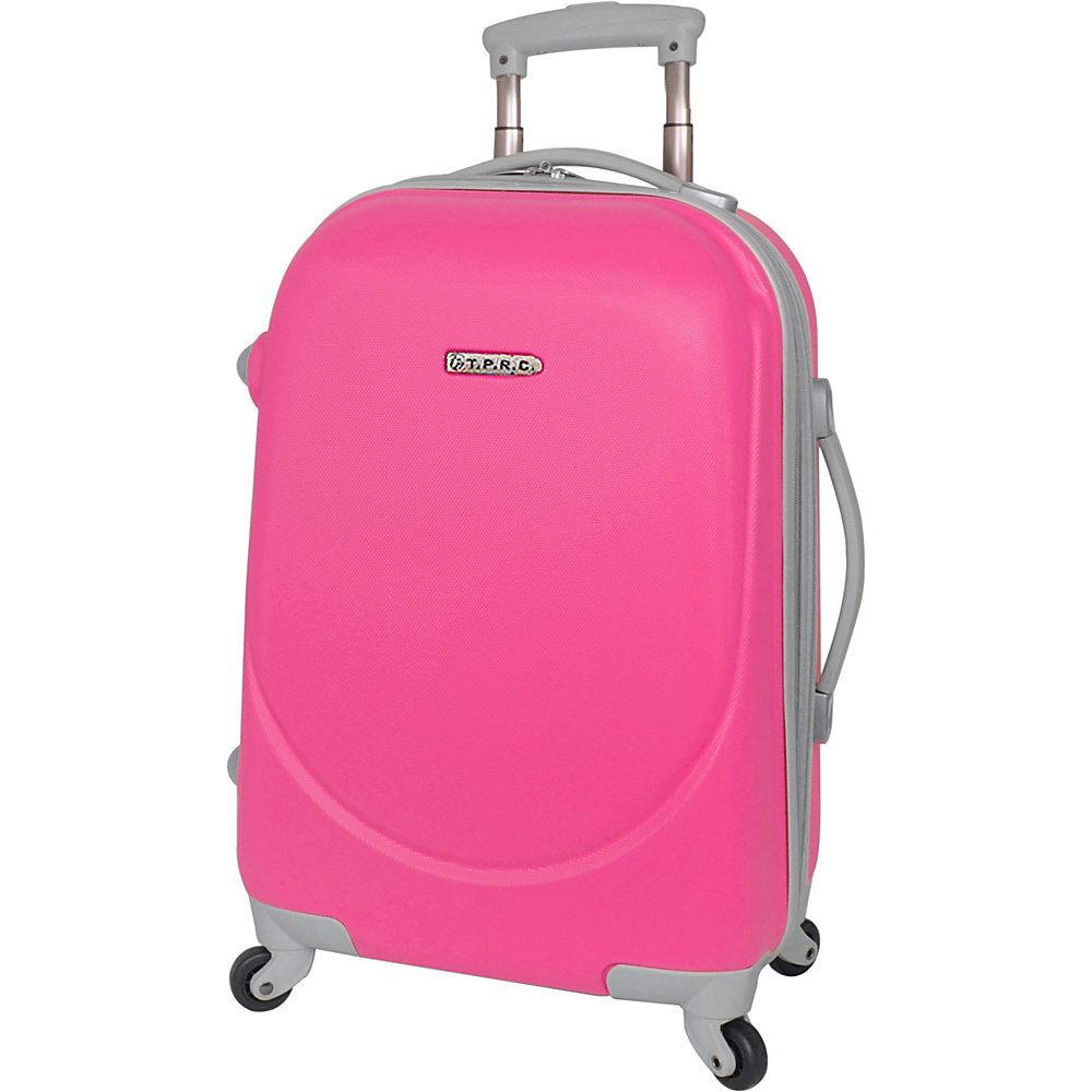"""Travelers Club Luggage Barnet 20"""" Round Shell Expandable Spinner Carry-On Neon Pink - Travelers Club Luggage Hardside Luggage"""