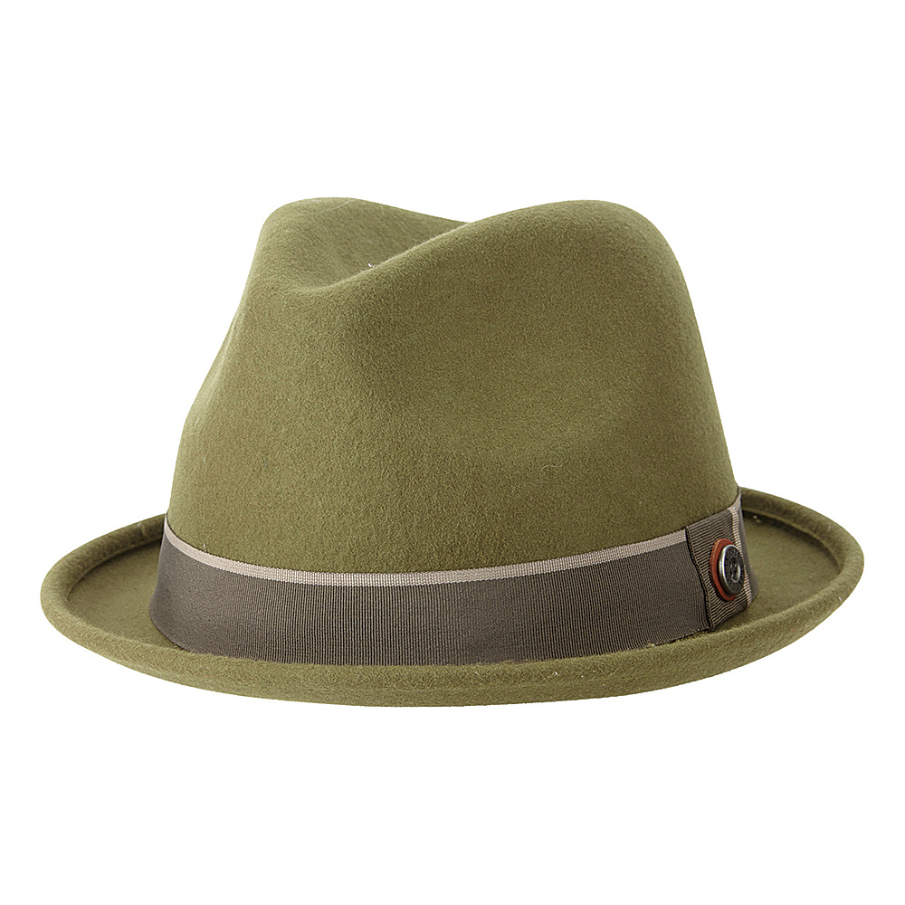 Ben Sherman Melton Wool Fedora Burnt Olive - Small/Medium - Ben Sherman Hats/Gloves/Scarves