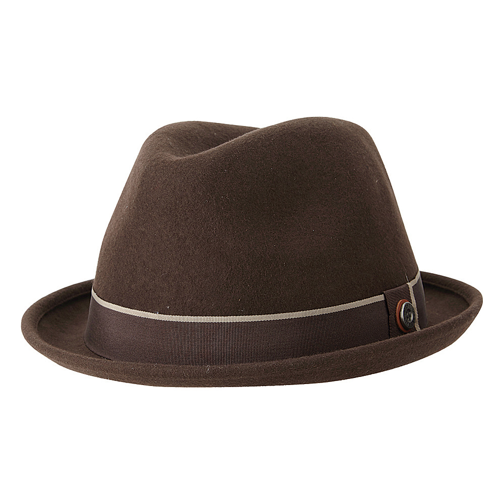 Ben Sherman Melton Wool Fedora Coffee - Small/Medium - Ben Sherman Hats/Gloves/Scarves
