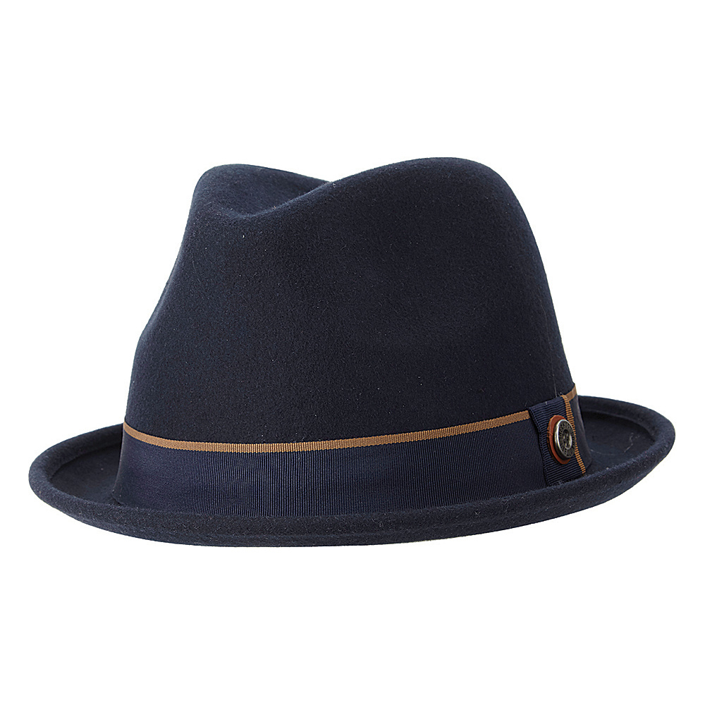 Ben Sherman Melton Wool Fedora Navy Blazer - Small/Medium - Ben Sherman Hats/Gloves/Scarves